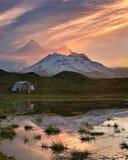 在火山的冷的早晨 库存照片