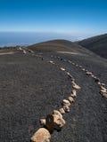 在火山的地面的供徒步旅行的小道 库存图片