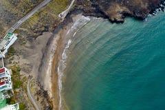 在火山的风景的海滩 免版税图库摄影
