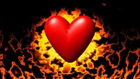 在火无缝的圈录影的灼烧的心脏 库存例证