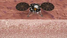 在火星的洞察,行星的探险的航天任务 火星的土壤的切面图 美国航空航天局 库存例证
