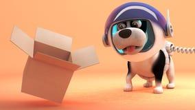 在火星的空间探险家狗注意浮动空的纸板箱,3d例证 库存例证