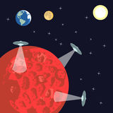 在火星的飞碟 皇族释放例证