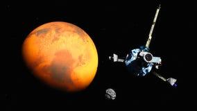 在火星附近的太空飞船 免版税库存照片