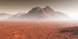 在火星,尘土的日落遮暗了火星的风景 向量例证