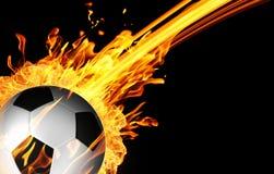 在火火焰的足球 库存照片