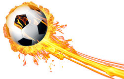 在火火焰的足球 免版税库存照片