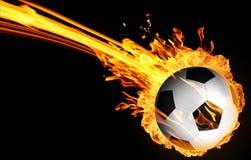 在火火焰的足球 库存图片