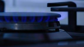 在火炉燃烧器的天然气炎症,气体甲烷看法在厨房里 影视素材
