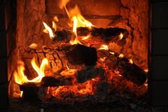 在火炉的火 免版税库存图片