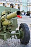 在火炮的桶的红色康乃馨在宫殿开枪 库存图片