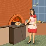 在火烤箱的减速火箭的妇女烘烤薄饼 免版税库存图片