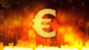 在火热的背景,金钱的金黄欧洲标志统治世界,金融市场 库存照片