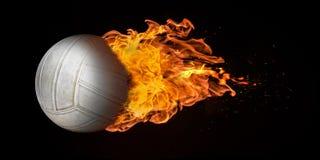 在火焰吞噬的飞行排球 库存照片