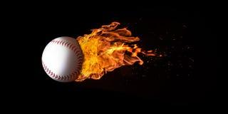 在火焰吞噬的飞行棒球 库存图片