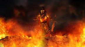 在火焰围拢的战士骑士 免版税库存照片