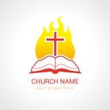 在火焰圣经教会商标的十字架 库存照片