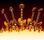 在火焰的吉他 库存图片