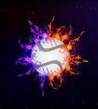 在火焰的棒球 免版税库存照片