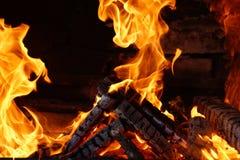 在火焰盖的被烧的木日志 图库摄影