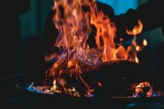 在火特写镜头的开胃烤肉 盘的美好的介绍在餐馆 免版税库存图片