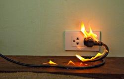 在火电线插座容器墙壁分开 库存照片