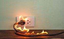在火电线插座容器墙壁分开 免版税图库摄影