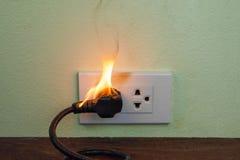 在火电线插座容器墙壁分开 免版税库存照片