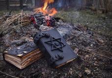 在火的两本不可思议的书 免版税库存照片