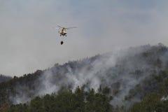 在火的交火直升机滴下的水在森林 库存图片