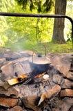 在火的大大锅 库存图片