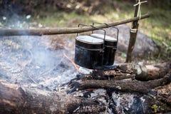 在火的大锅煮沸在森林里 免版税库存照片