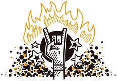 在火的岩石标志 免版税库存照片