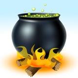 在火的巫婆大锅 皇族释放例证