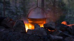 在火的平底锅 免版税库存图片
