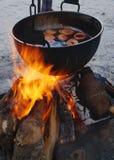 在火的打孔机 免版税库存图片