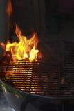 在火的格栅 免版税库存照片