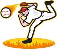 在火的棒球投手投掷的球 免版税图库摄影