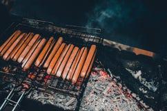 在火的油炸物香肠 免版税库存照片