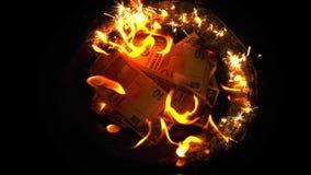 在火的灼烧的金钱 股票视频