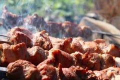 在火的烘烤肉 库存照片