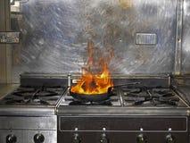 在火的煎锅 免版税库存图片