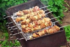 在火的猪肉烤肉串 免版税图库摄影