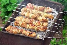 在火的猪肉烤肉串 图库摄影
