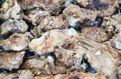 在火的猪肉烤肉串 库存图片