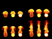 在火的球形 许多版本 图库摄影