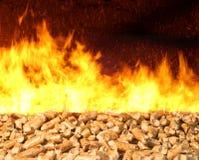 在火的生物量药丸 免版税库存图片