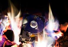 在火的硬盘驱动器 免版税库存照片