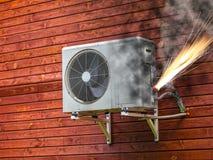 在火的空调器 库存照片