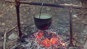 在火的罐在露营地 股票录像